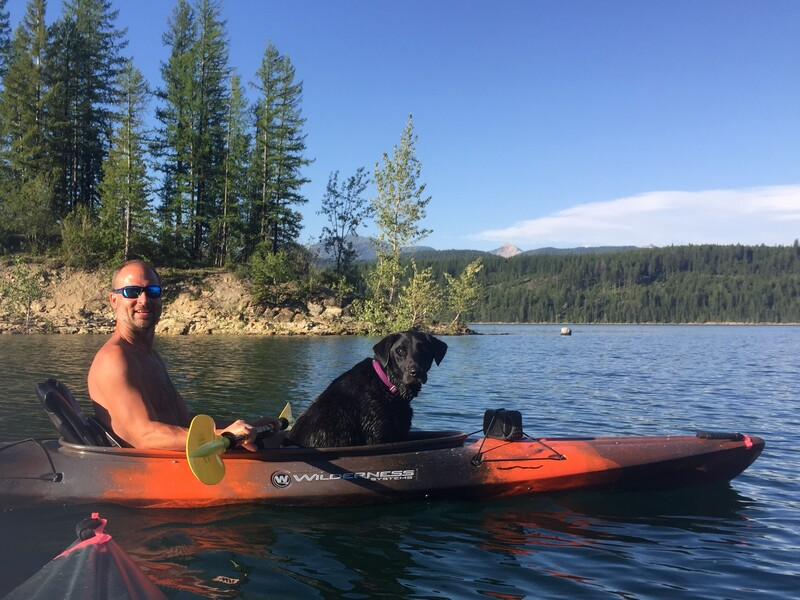 Hungry Horse Reservoir Kayaking to an Island! Our dog is a great passenger